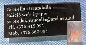Tarja de Visita Grosella i Grandalla tel.: 815 091, email grosellaigrandalla[arrova]andorra.ad
